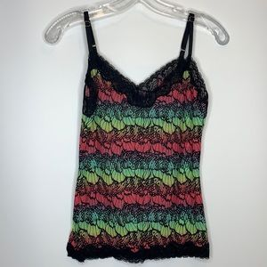 Floral Print Lacy tank top Stretch XS extr…